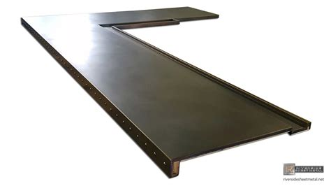 Copper Bar Tops For Sale by Patina Copper Bar Top With Drink Rail And Rivets