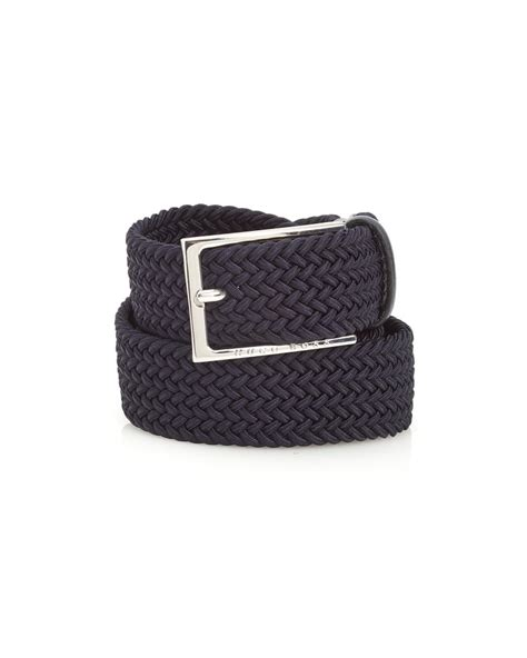 hugo black mens clori belt woven leather blue belt