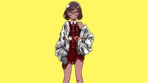 Wallpaper Minimalis Coklat wallpaper gadis anime minimalis latar belakang