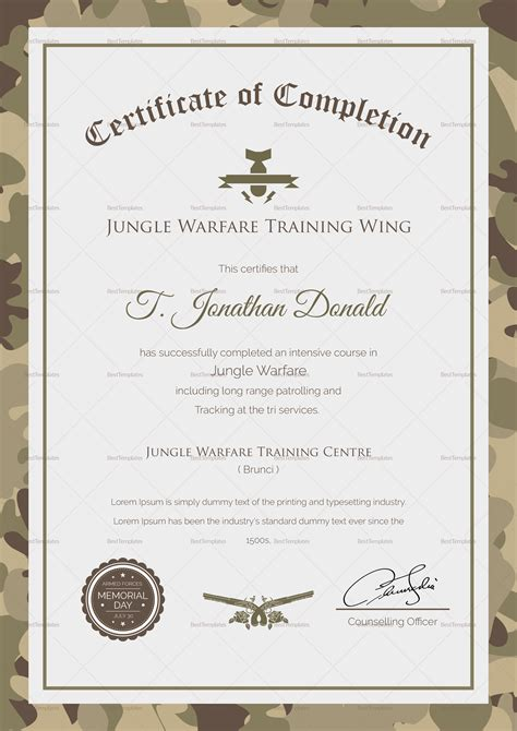 army camo completion certificate design template