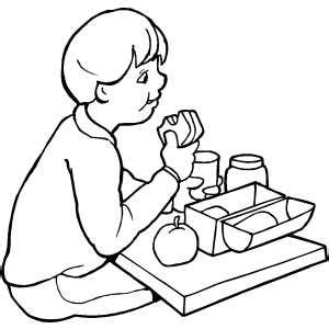 boy eating lunch coloring page