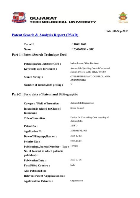 Search Report Pattern Search Web Report Sle For Gtu Student
