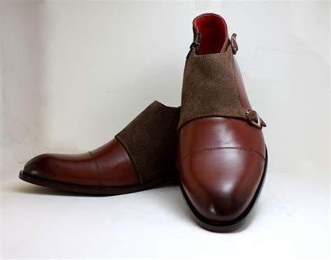 Handmade Boot - handmade leather boots monk suede boot brown