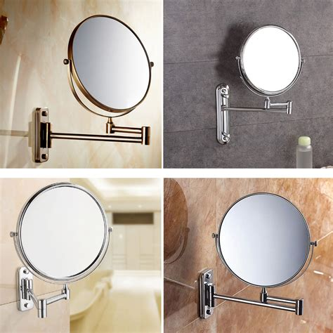 folding bathroom mirror chrome wall mounted magnification shaving makeup bathroom