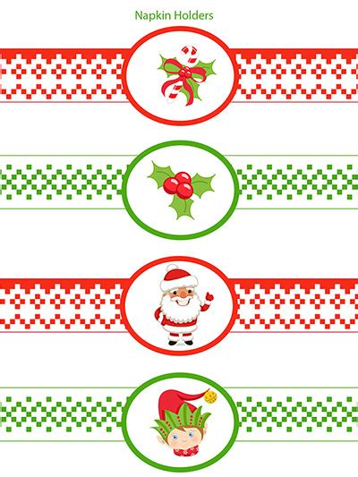 Printable Christmas Napkin Rings | free christmas napkin rings printable