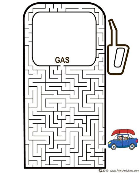 Printable Car Maze | car maze free printable gas pump maze