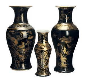 three porcleain gilt black ground vases 19th