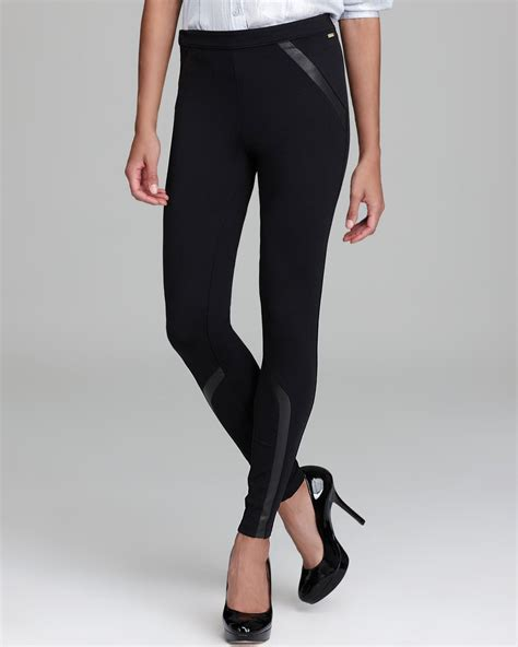 Ck Legging calvin klein with faux leather insets in black lyst