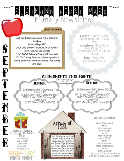 primary school newsletter templates primary newsletter template like a cherry