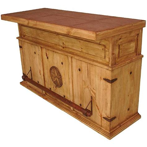 Pine Wood Storage Cabinet Rustic Pine Collection Cantina Star Bar W Tile Top Bar508
