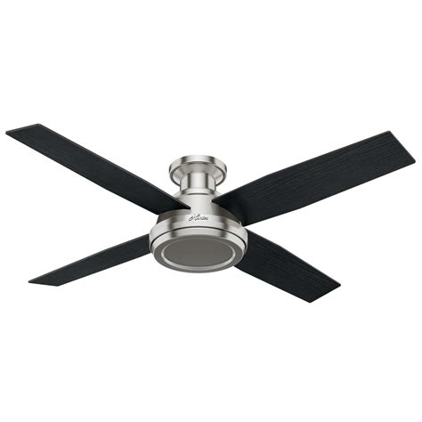 hunter ceiling fans with remote control included shop hunter dempsey 52 in brushed nickel flush mount
