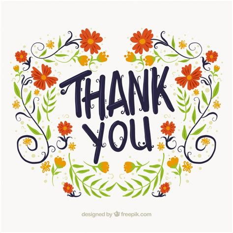thank you background thank you floral background vector free