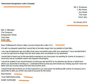 Resignation Letter Due To Retirement by Retirement Resignation Letter Exle Toresign