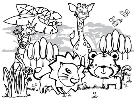 jungle animals coloring pages preschool rainforest coloring pages for kids collection printable