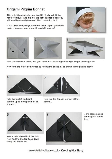 How To Make A Paper Pilgrim Bonnet - origami pilgrim s bonnet