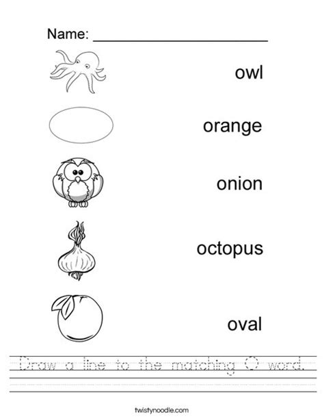 letter o worksheets draw a line to the matching o word worksheet twisty noodle 1376