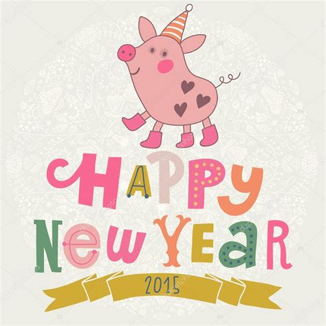 new year for the pig new year card with pig stock vector 169 smilewithjul 75030039