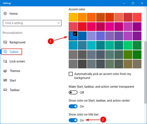 windows top bar how to change active inactive title bar color in windows
