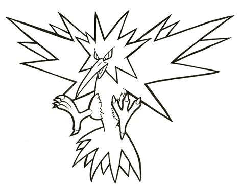 pokemon coloring pages zapdos zapdos lineart 145 by articwolfspirit on deviantart