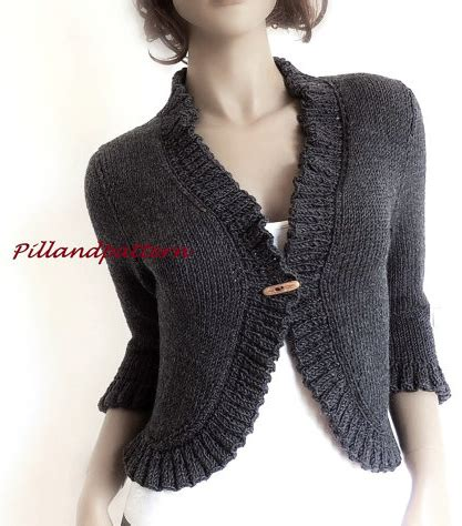 ruffled crochet shrug pattern knitting pattern for ruffled bolero cropped cardigan