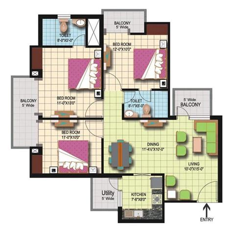 amrapali silicon city floor plan amrapali silicon city floor plan 3 bed 2 tiolet 1420 sqft