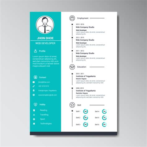 Web Resume Template by Web Developer Resume Template Vector Free