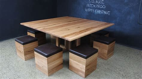 timber dining table with bench seats wormy chestnut square table and upholstered timber cube