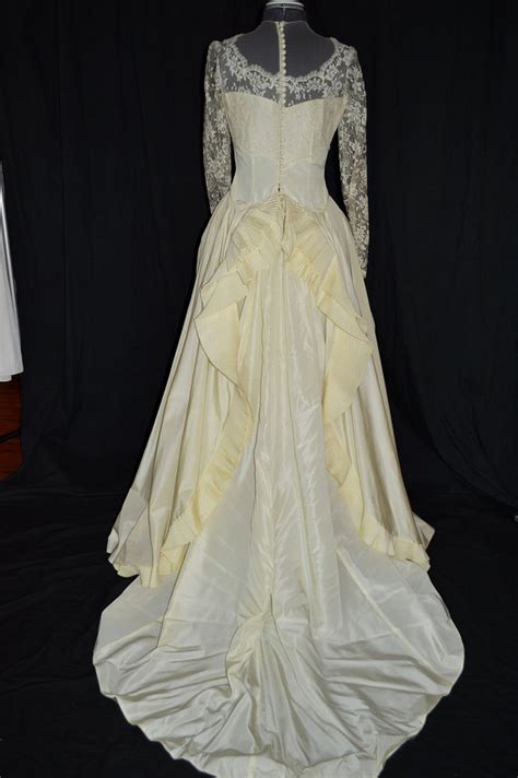 lace ivory victorian bustle skirt 1890s style ivory victorian lace wedding gown dress w pleated