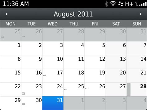 calendar design options how to change the default view on the native blackberry