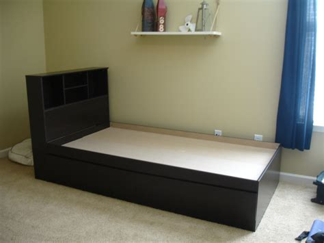 bed with storage and bookcase headboard elegance