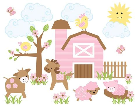 Farm Animal Nursery Decor Details About Farm Animal Baby Nursery Decor Pink Barnyard Wall Decal Mural Stickers