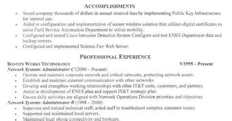 sysadmin cover letter a sle resume for system administrators sysadmin