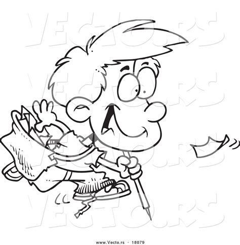 vector   cartoon boy picking  litter outlined
