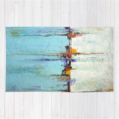 beach rugs home decor nautical area rug abstract white and blue seascape