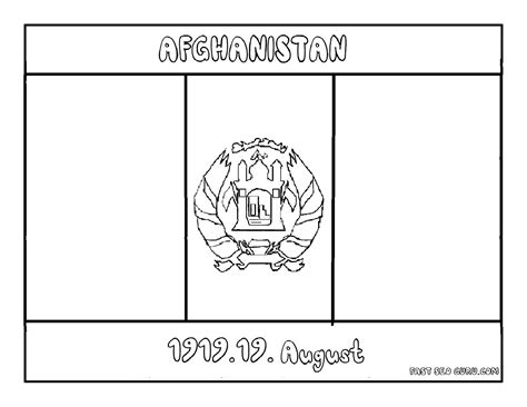 free coloring pages of flag of afghanistan