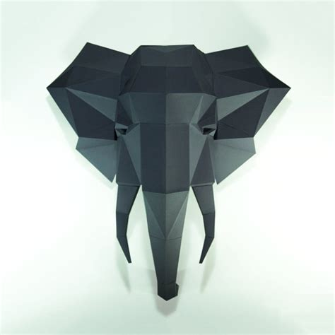 Papercraft Trophy - elephant headelephant paper elephant lowpoly paper trophy