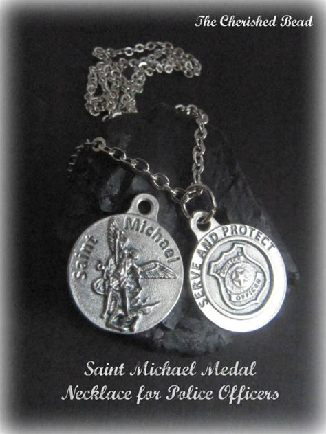 catholic michael medal necklace for by thecherishedbead