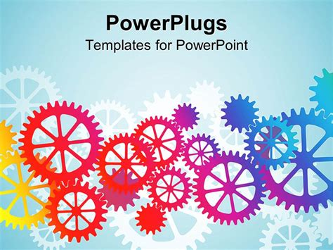 powerpoint template gears and wrenches over yellow powerpoint template mechanical gears and cogs in red