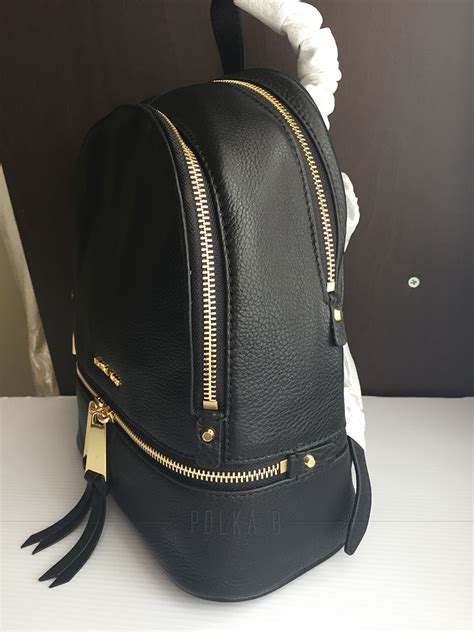 Small Black Leather by Michael Kors Rhea Small Leather Backpack Black