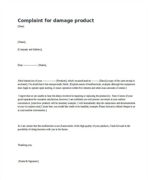 Complaint Letter For Product exle complaint letter damaged goods cover letter