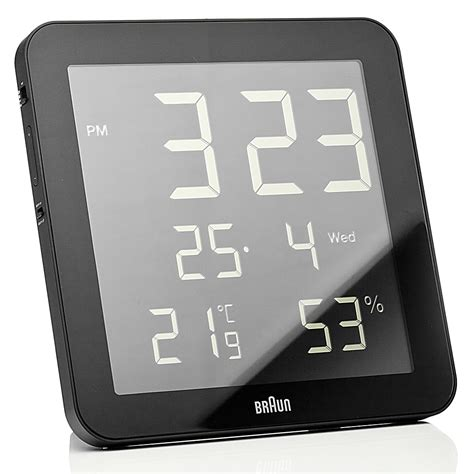 wall clock digital braun digital wall clock and weather station black