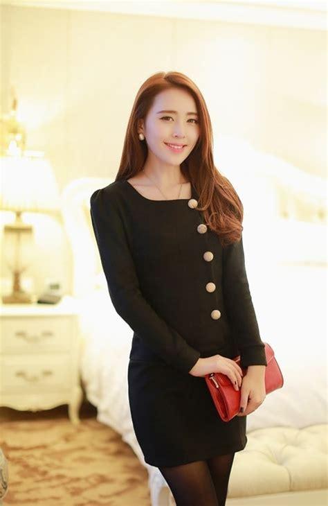 Baju Black Checked Dress button dress korea import ds4190 black tamochi