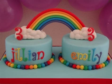 twin themed names rainbow birthday cake for twins or 2 people having