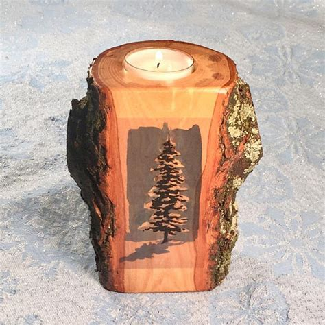 Snowy Tree Wood Tealight Candle Holder, Rustic Home Decor