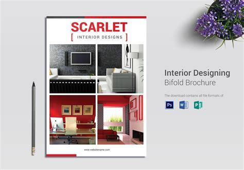 interior designing bi fold brochure design template  psd