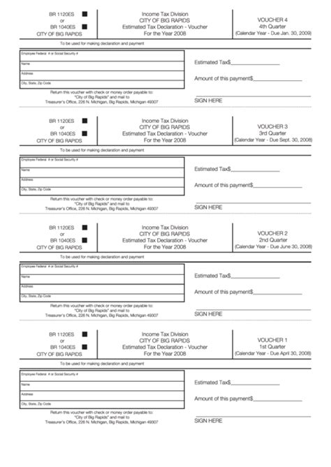 printable quarterly tax vouchers form br 1120 1040es city of big rapids estimated tax