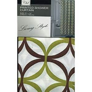 Green And Brown Shower Curtains Alison Fabric Shower Curtain Olive Lime Green Brown Geo Design Print On White