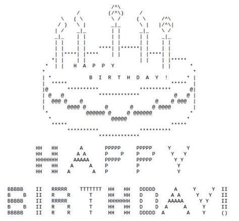 text ascii icons happy birthday ascii text cakes happy birthday