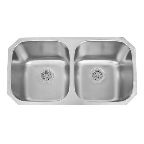 """33"""" Infinite Double Bowl Stainless Steel Undermount Sink"""