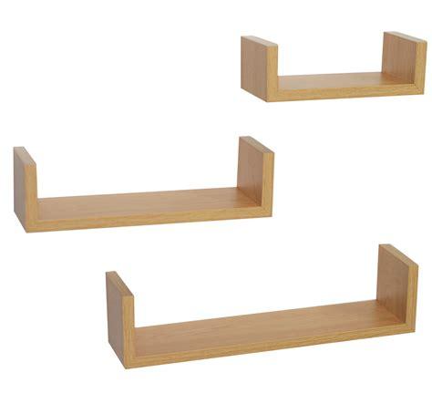 set of 3 u shape floating wall shelves display shelf unit